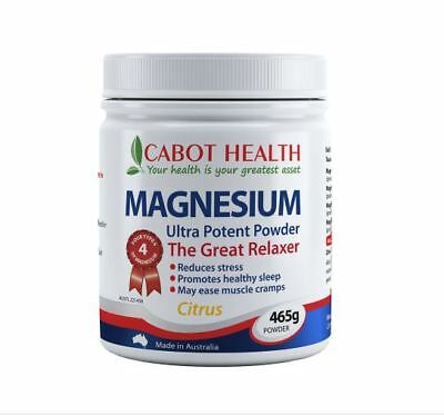 New Cabot Health Magnesium Ultra Potent Powder Citrus 465g Relaxer of Cramps