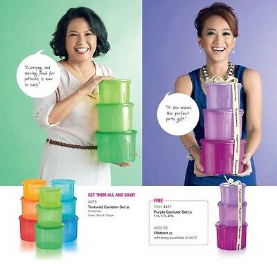 New Tupperware Textured Canister 3pc Set, Buy 3 x 3pc Set Free 1 x 3pc Set