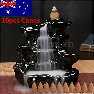 Black Ceramic Waterfall Incense Burner Backflow Censer Tower Holder + 10x Cones