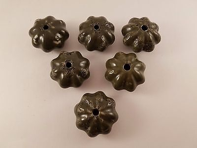 Lot of 6 Vintage Olive Green Stone or Ceramic Drawer Pulls/Knobs