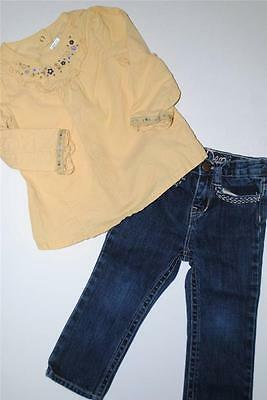 Baby Girls GYMBOREE Yellow CORDUROY  Top Shirt ~3T~BABY GAP Jeans 2T