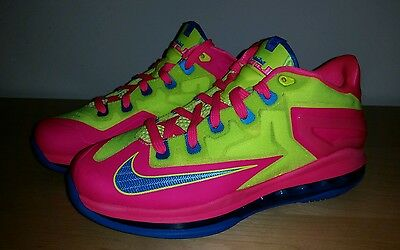 New Nike Max LeBron XI 11 Low Basketball Youth US 7 Photo Blue Volt Hyper Pink