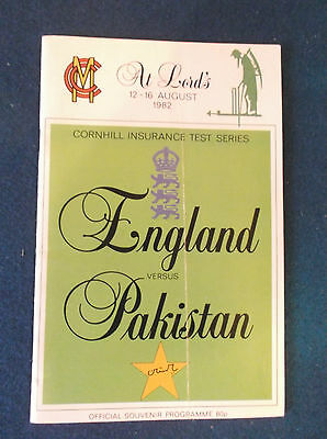 England v Pakistan August 1982 Test Match programme. Played at Lords.