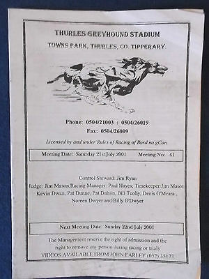 Thurles, Tipperary Greyhound Racing Programme 21/7/01