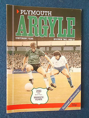 Plymouth Argyle v Ipswich Town 21/10/86 Programme
