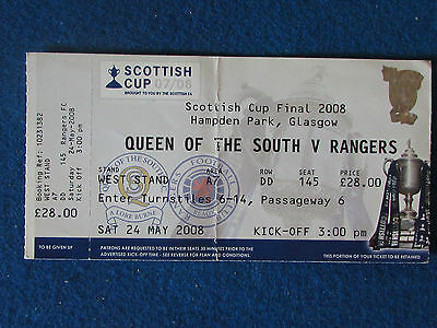 Scottish Cup Final Ticket - 24/5/2008 - Queen Of The South v Rangers