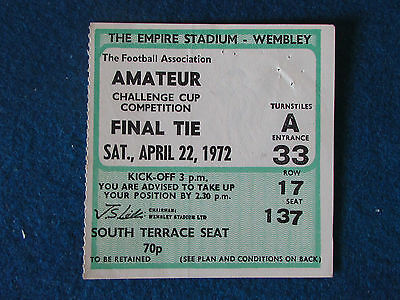 FA Amateur Cup Final 1972 Ticket - Enfield v Hendon