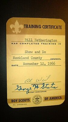 """Vintage """"Training Certificate-BOY SCOUTS of AMERICA"""" 1966 Card"""