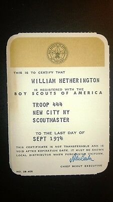 """Vintage  """"BOY SCOUTS of AMERICA"""" 1974 Certificate Card"""