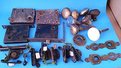 Lot of Vintage Door Knobs Latches Square Vertical Lock Steampunk Industrial Art