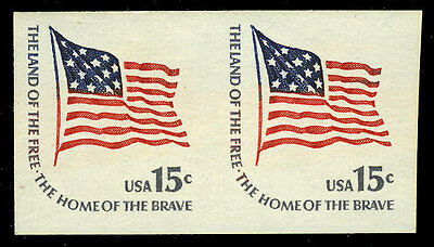 US #1618Cd 15¢ Fort McHenry Flag, Imperf Imperforate Pair, VF NH MNH