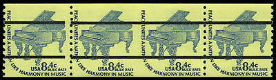 US #1615Ce 8.4¢ Piano strip/4 Precancel PC Imperf Imperforate between, VF NH MNH