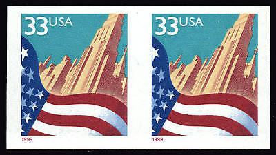 US #3281a 33¢ Flag and City, Imperf Imperforate Pair, VF NH MNH