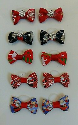 10pcs /lot Cute Christmas Cat Dog Hair Bows Rubber Bands Grooming Accessories