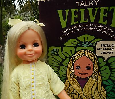 Vintage Ideal TALKY VELVET Crissy Doll wearing original outfit & shoes with Box