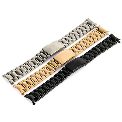 Stainless Steel Luxury Curved Clasp Watch Band Strap Wrist Bracelet 18-24mm