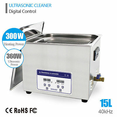 NEW Stainless Steel 15L 360W Ultrasonic Cleaner Industry Heater Heated w/Timer