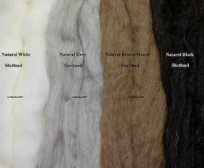 NATURAL BLACK UK SHETLAND WOOL TOPS / roving / needle felting wool / fibre