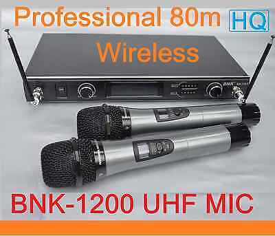 New UHF Dual Channel PROFESSIONAL WIRELESS Microphone System 2 CORDLESS MIC*