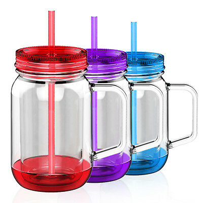 AVOIN colorlife 500ml Double Wall Plastic Mason Jar Mug Smoothie Cup with Straw