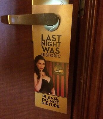 ☀Golden Gate Casino☀Downtown Hotel Las Vegas DO NOT DISTURB SIGN SEXY Busty Lady
