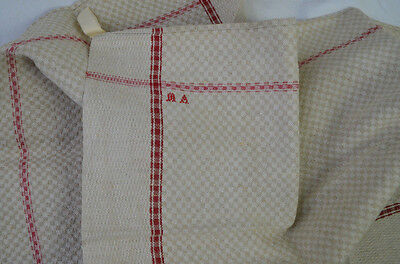Vintage French red striped and beige check torchon/kitchen cloth, MA monogram