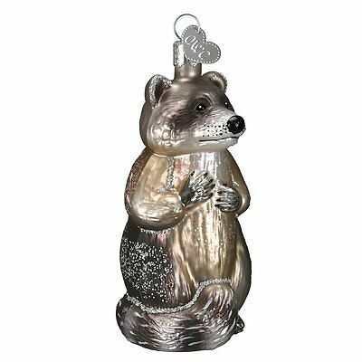 Christmas Tree Ornament, Raccoon Traditional Hand Crafted Glass Blown Old World