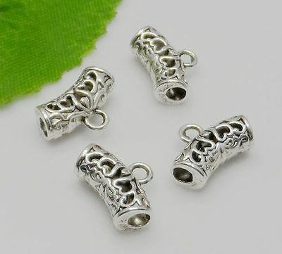 Free Ship 50Pcs Tibetan Silver Spacer Bail Beads Connector 14x9.5mm Hole:2mm