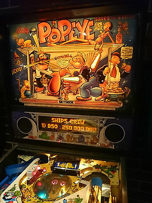 Popeye Pinball Machine in Excellent Condition with Original Colour on the Cabint