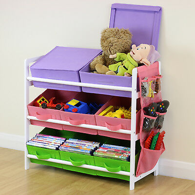 Purple Pink Green 3 Tier Toy Unit 8 Canvas Boxes/Drawers Kids/Childrens Storage