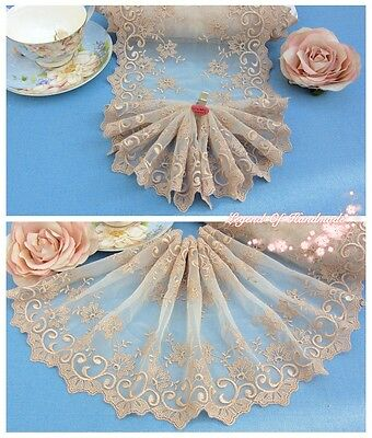"8""*1Y Embroidered Tulle Lace Trim~Ivory+Gold Beige~Instant Romance~Wedding~"