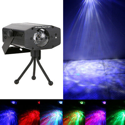 Remote RGB LED Water Wave Ripple Effect Stage Light Laser Projector DJ Club Lamp