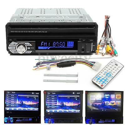 Single 1 Din 7'' Car DVD CD MP3 Bluetooth Display Player Touch Flip Out Screen