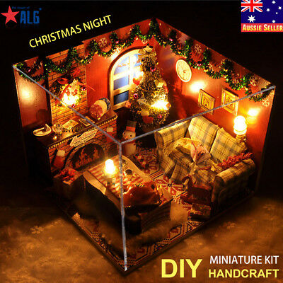 DIY Kids Handcraft Miniature Project Lights Christmas Dolls Gift House Kit