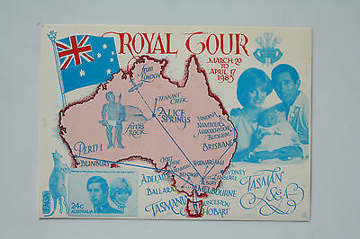 Postcard of The Prince and Princess of Wales on their visit to Australia in 1983