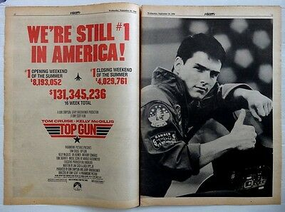 1986 VARIETY two page ad TOP GUN