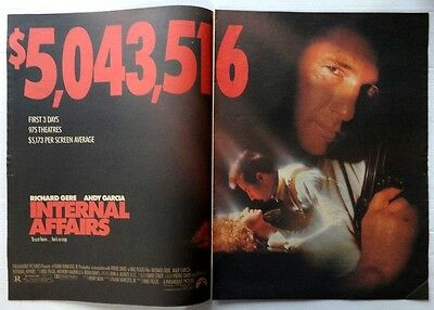 1990 VARIETY two page ad INTERNAL AFFAIRS Richard Gere