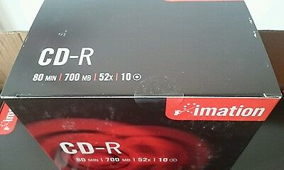10 Cd-r imation 700MB 52x CD Enregistrable CD Recordable Neuf avec boites