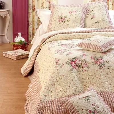 ❤ Superbe Couvre Lit Boutis Patchwork 100% Coton Shabby 230X250+2 Taies Charme