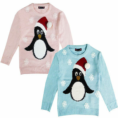 Love Girls Novelty Knitted 3D Penguin Christmas Sweater Crew Neck Xmas Jumper