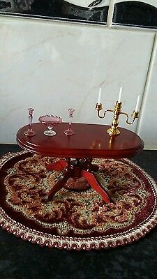 Dolls house victorian dining table & rug/candle harbour/ornaments 1/12th scale