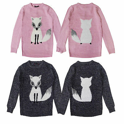 Love Girls Novelty Knitted 3D Fox Christmas Sweater Crew Neck Xmas Jumper