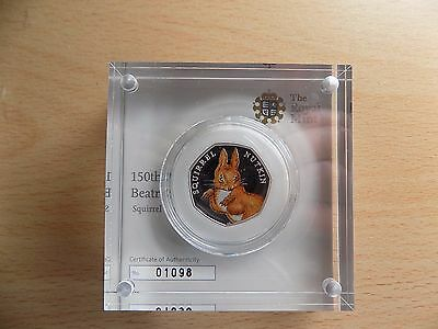 Squirrel Nutkin Coloured Silver Proof 50 Pence Beatrix Potter Number 01098
