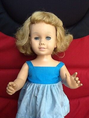 Chatty Cathy unmarked early doll pull string dress blonde/blue eyes