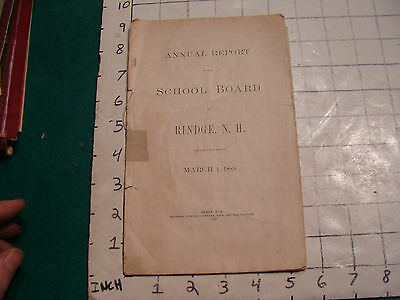 Original 1888 Annual Report of the School Board RINDGE NH,