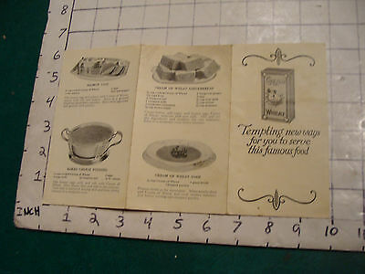 vintage CREME OF WHEAT w recipes EARLY BUT UNDATED