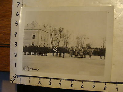 vintage WWI Signal Corps U.S. official photo: soldiers with flags in rows 37447