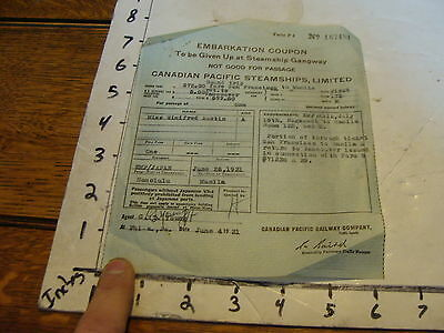 vintage TRAVEL paper: EMBARKATION COUPON CANANDIAN PACIFIC STEAMSHIPS, 1931