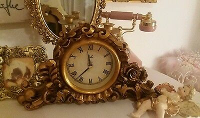Gold Ornate vintage roccoco floral shabby chic heavy mantle clock