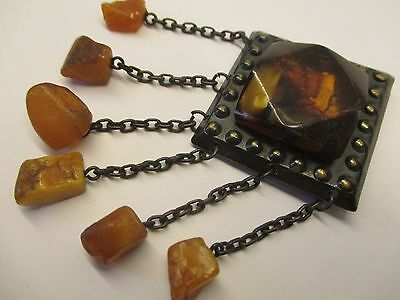Amber Baltic Latvian Ethnic Brooch Natural Genuine Butterscotch Copper